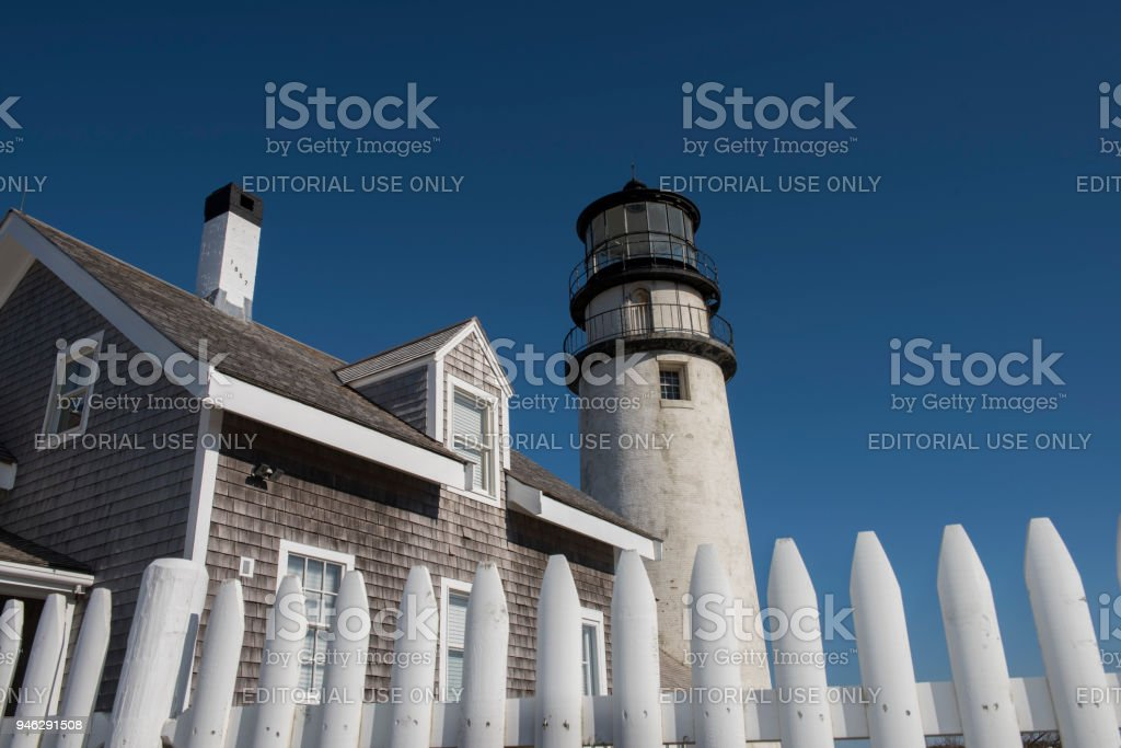 Highland Lighthouse at Cape Cod, Massachusetts stock photo
