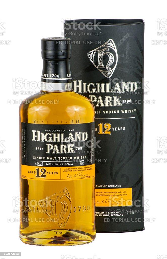 Highland Park Scotch Whisky and box stock photo