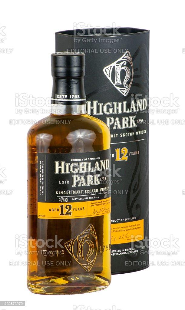 Highland Park Scotch Whisky with Box - side stock photo