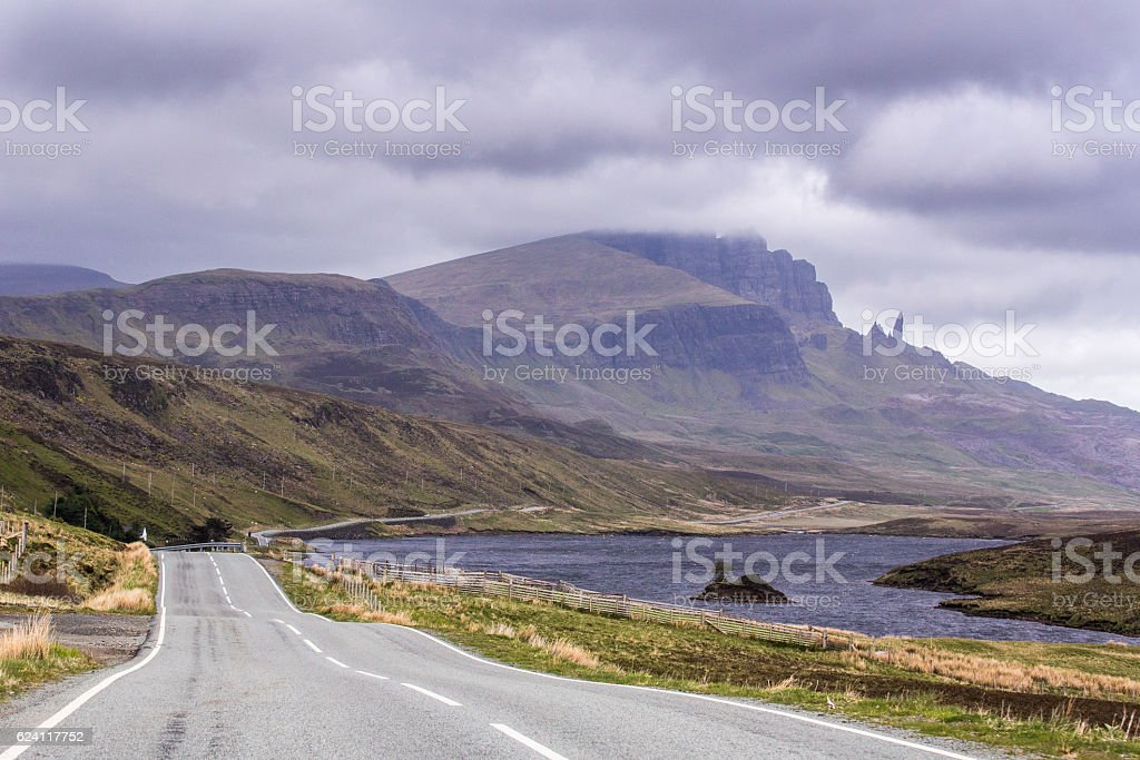 Highland road leading past Old Man of Storr stock photo