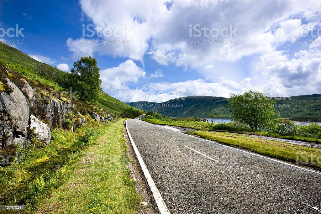 Highland road stock photo
