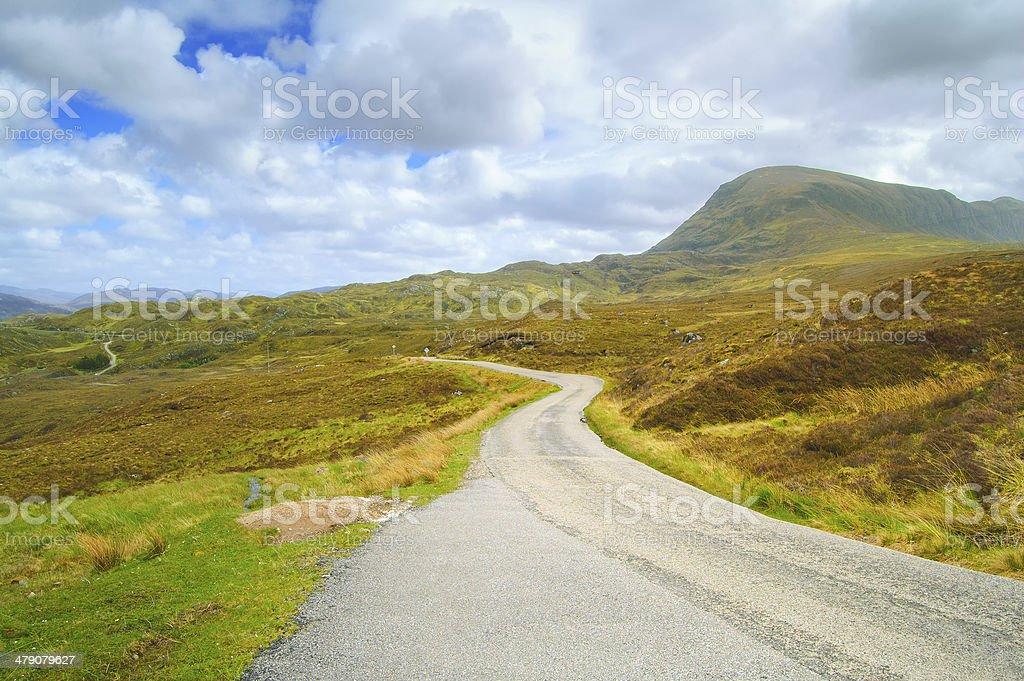 Highlands of Scotland narrow road landscape, Uk stock photo