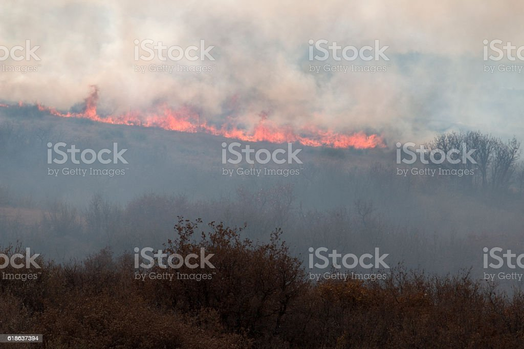 Highlands Ranch Colorado Chatridge Fire wildfire flames smoke stock photo