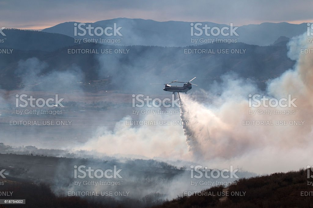 Highlands Ranch Colorado Chatridge Fire wildfire smoke Chinook firefighting helicopter stock photo