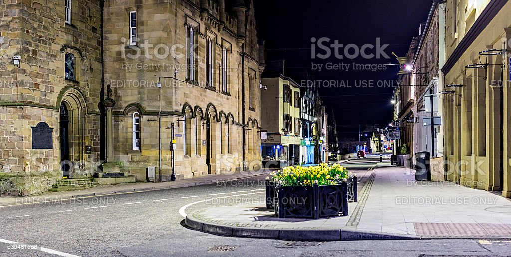 Highlands, Scotland. In the royal burgh of Tain at night stock photo