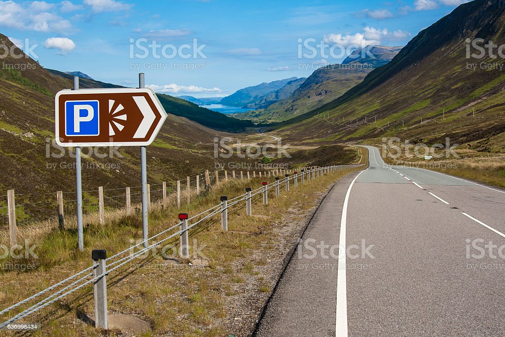 Highlands Scotland parking viewpoint towards Loch Maree stock photo