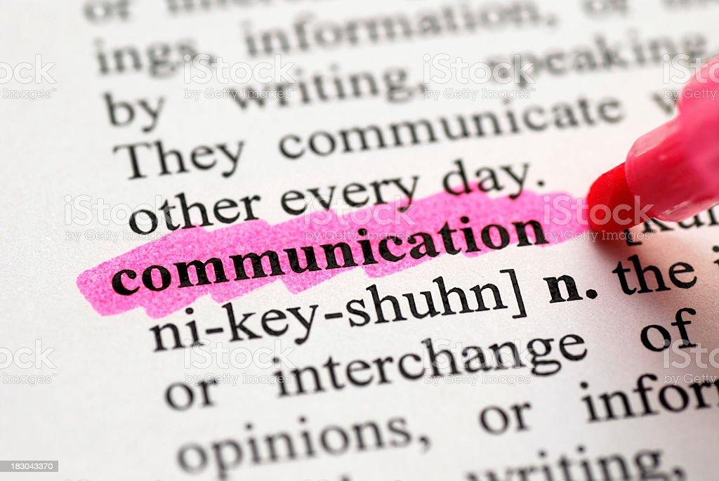 Highlight of communication in the dictionary royalty-free stock photo