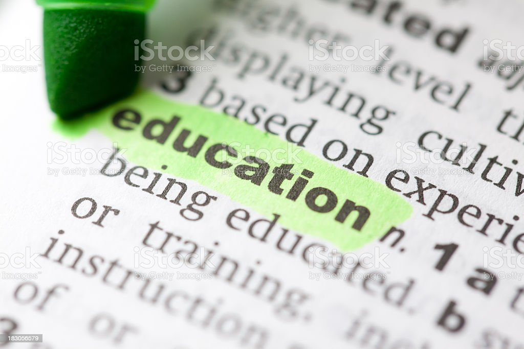 Highlighted education in dictionary stock photo