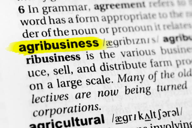 "Highlighted English word ""agribusiness"" and its definition in the dictionary Highlighted English word ""agribusiness"" and its definition in the dictionary. glossa stock pictures, royalty-free photos & images"