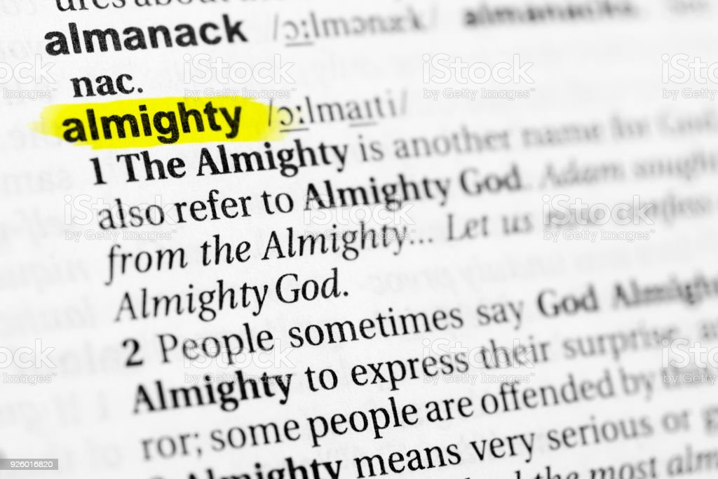 Highlighted English word 'almighty' and its definition in the dictionary stock photo