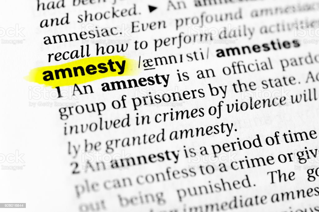 Highlighted English word 'amnesty' and its definition in the dictionary stock photo