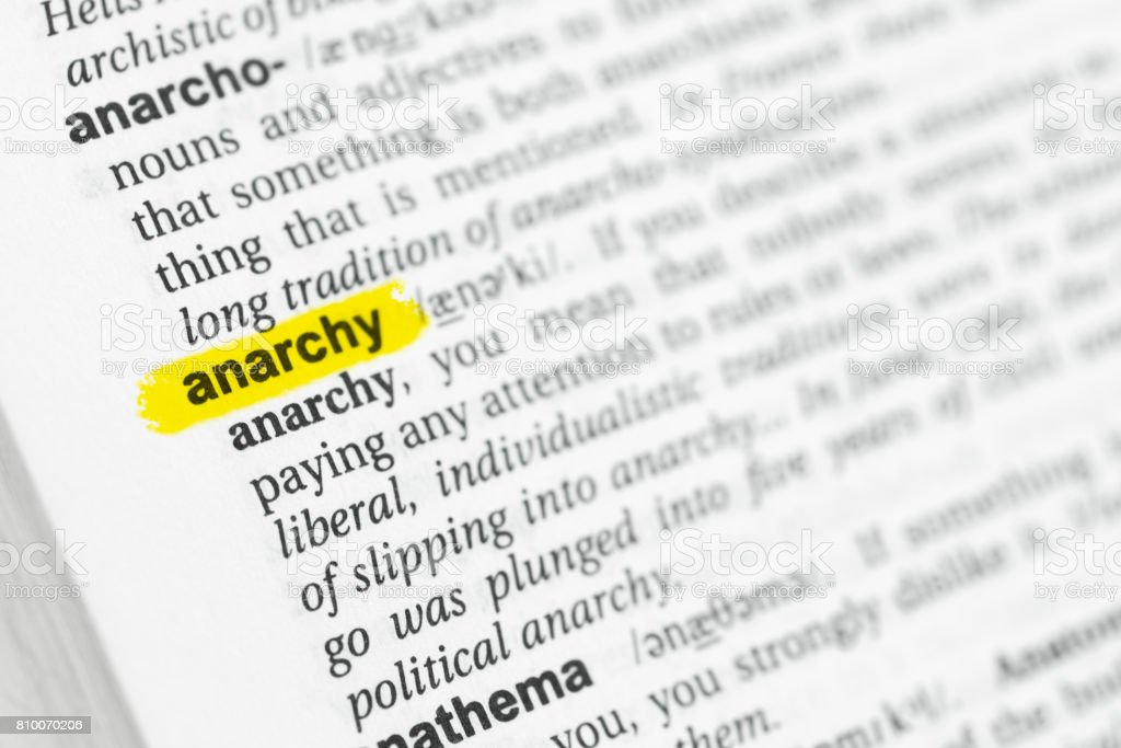 Highlighted English word 'anarchy' and its definition stock photo
