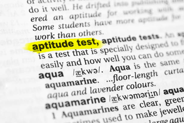 "Highlighted English word ""aptitude test"" and its definition in the dictionary Highlighted English word ""aptitude test"" and its definition in the dictionary. glossa stock pictures, royalty-free photos & images"