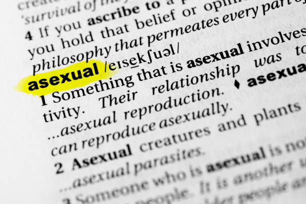 "Highlighted English word ""asexual"" and its definition in the dictionary Highlighted English word ""asexual"" and its definition in the dictionary. glossa stock pictures, royalty-free photos & images"