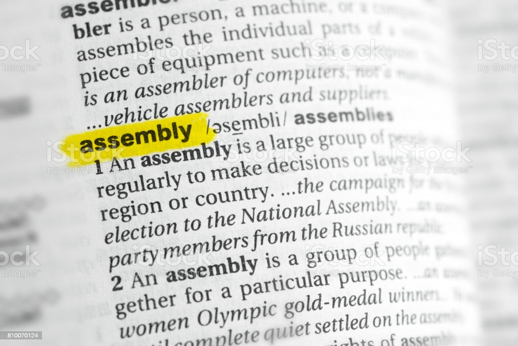 Highlighted English word 'assembly' and its definition stock photo