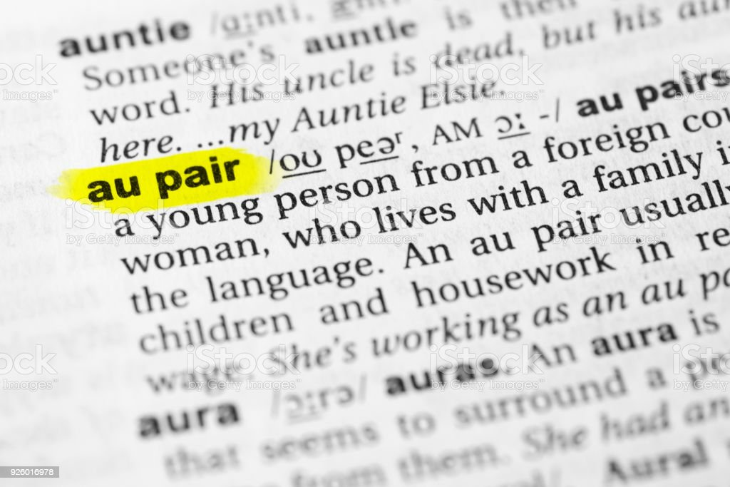 Hervorgehobene englische wort au pair und seiner definition im balkendiagramm daten dokument einzelwort erklren hervorgehobene englische ccuart Images