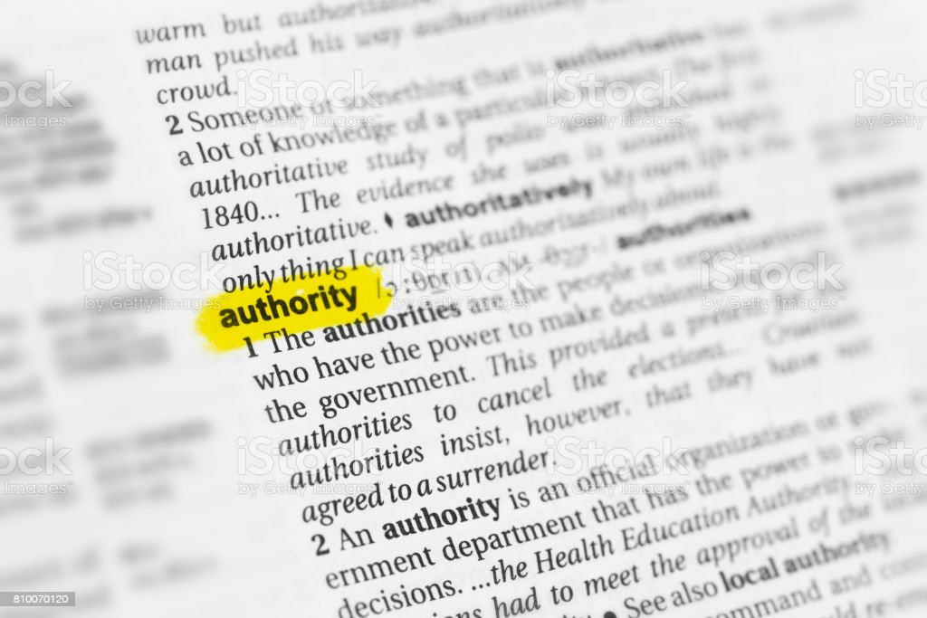 Highlighted English word 'authority' and its definition stock photo