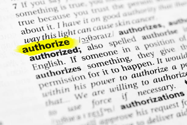 "Highlighted English word ""authorize"" and its definition in the dictionary Highlighted English word ""authorize"" and its definition in the dictionary. glossa stock pictures, royalty-free photos & images"