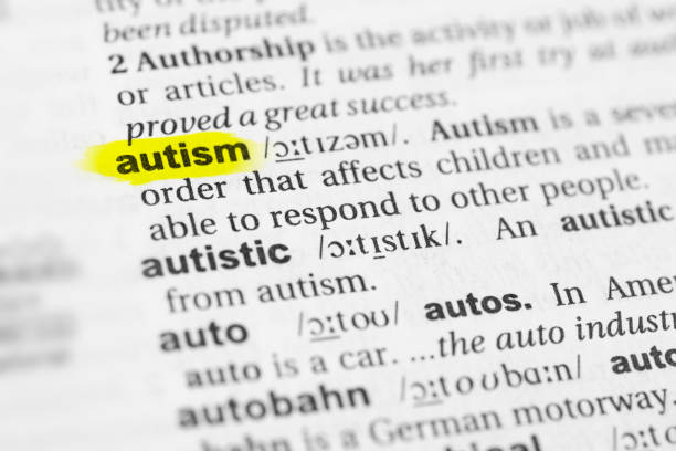 "Highlighted English word ""autism"" and its definition in the dictionary Highlighted English word ""autism"" and its definition in the dictionary. glossa stock pictures, royalty-free photos & images"