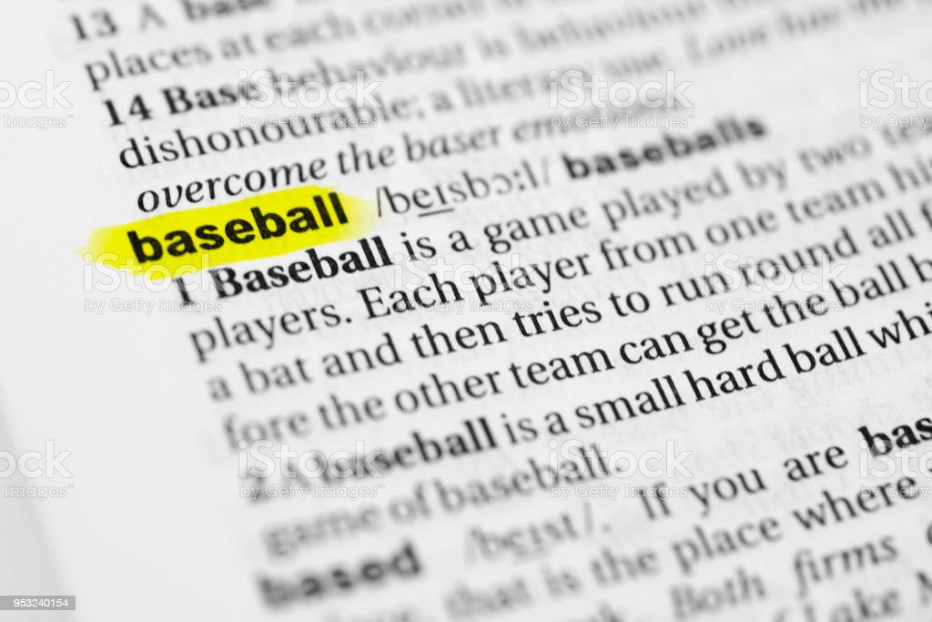 Highlighted English word 'baseball' and its definition in the dictionary stock photo