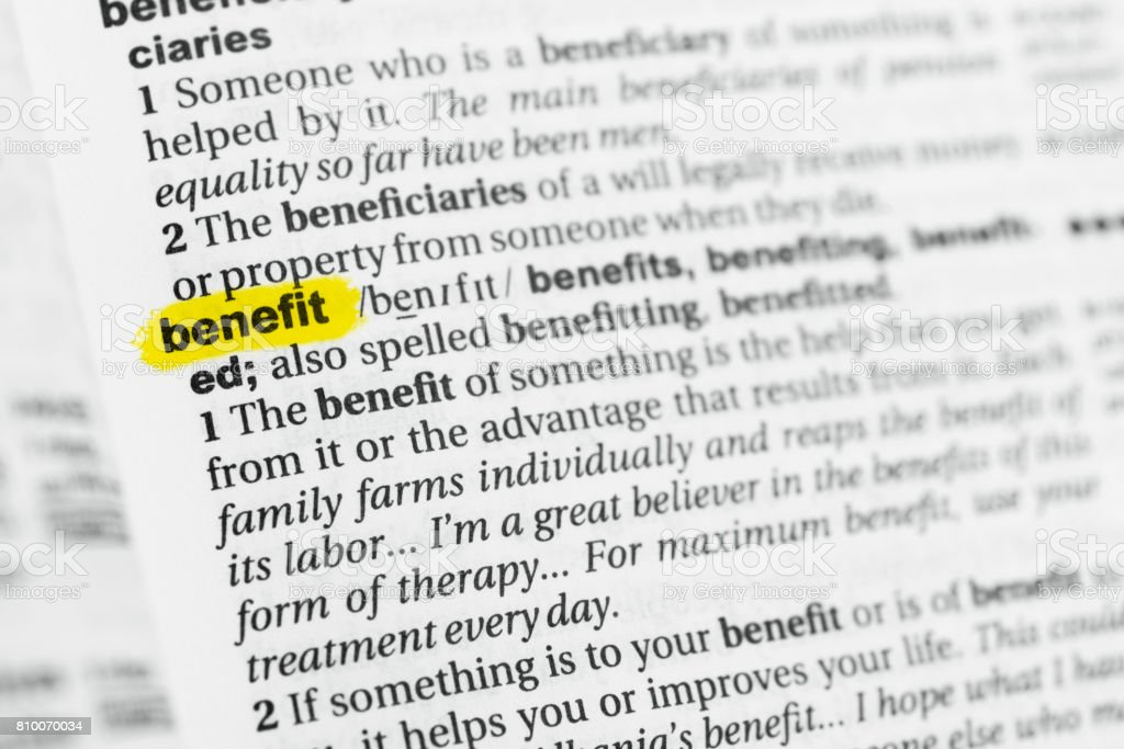 Highlighted English Word Benefit And Its Definition At Stock Photo