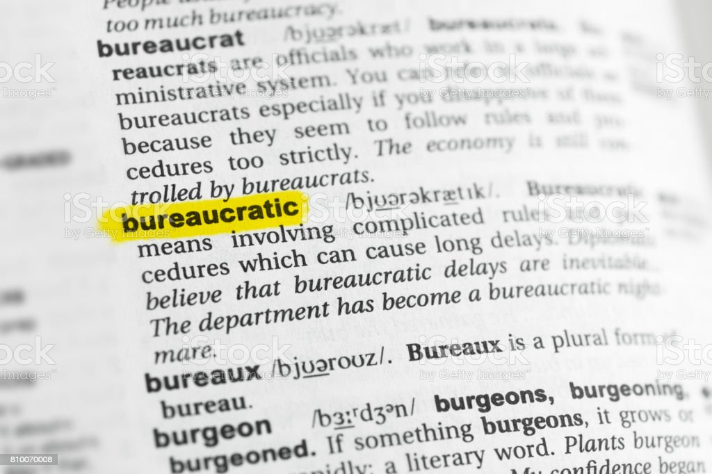 Highlighted English word 'bureaucratic' and its definition stock photo