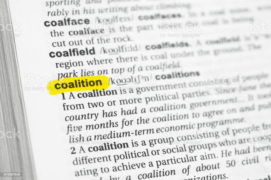 Highlighted English word 'coalition' and its definition stock photo
