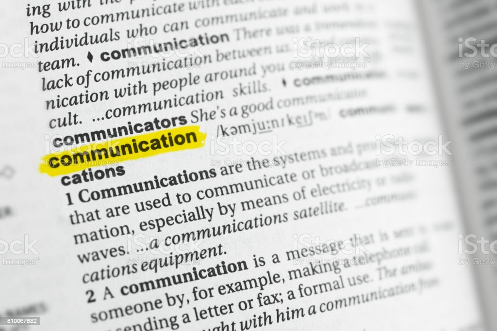 Highlighted English word 'communication' and its definition stock photo