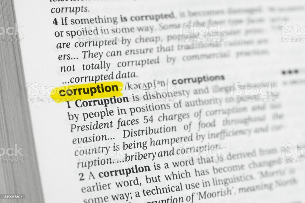 Highlighted English word 'corruption' and its definition stock photo