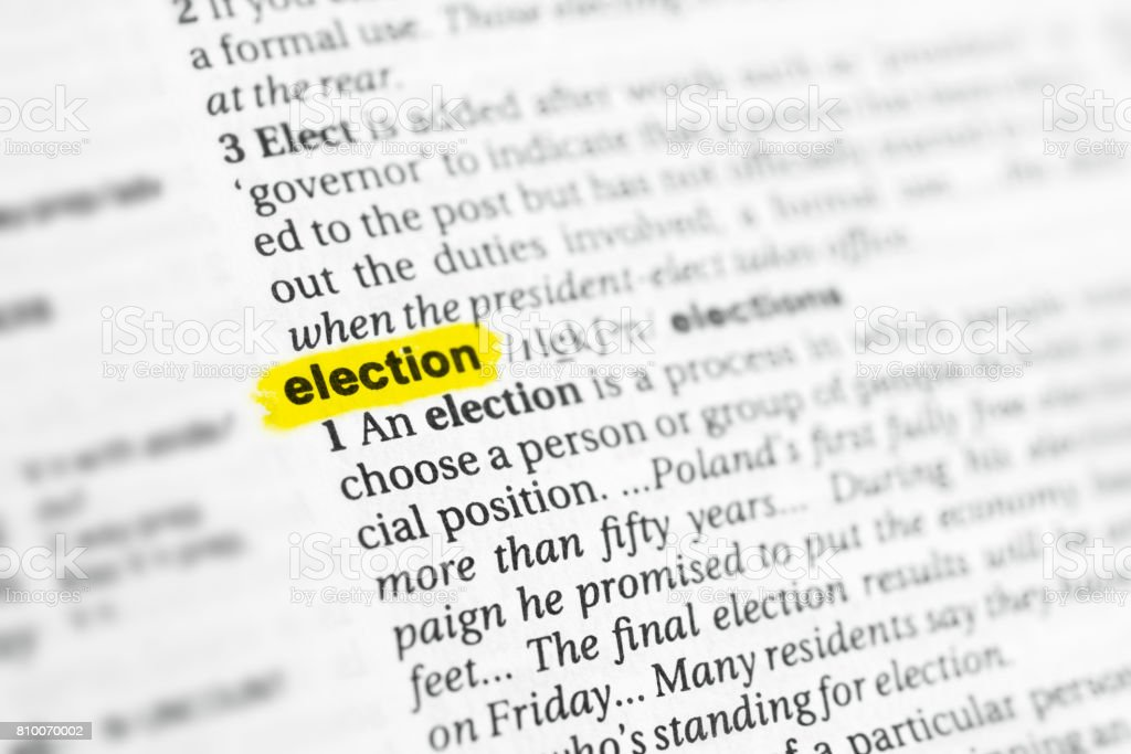 Highlighted English word 'election' and its definition stock photo