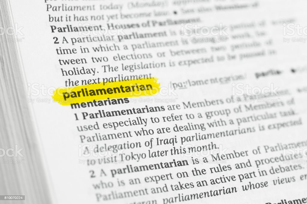Highlighted English word 'parliamentarian' and its definition stock photo