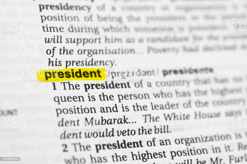 Highlighted English word 'president' and its definition stock photo
