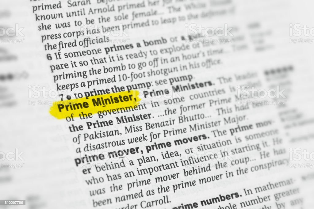 Highlighted English word 'Prime Minister' and its definition stock photo