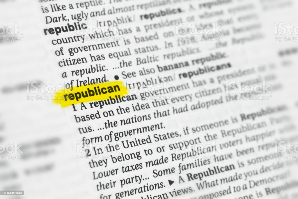 Highlighted English word 'republican' and its definition stock photo