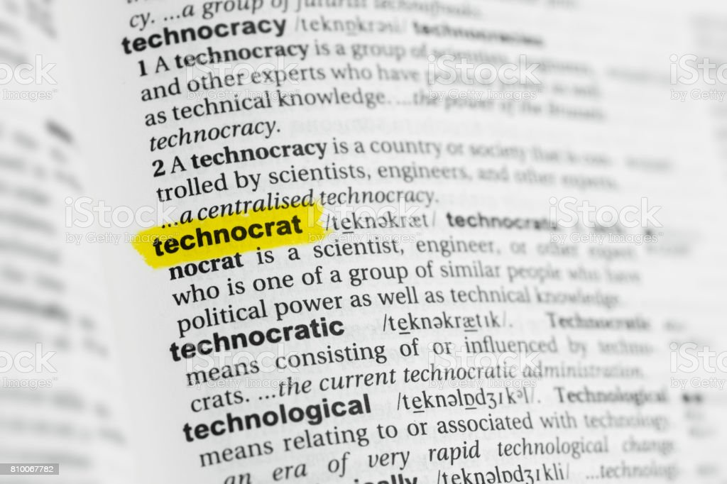Highlighted English word 'technocrat' and its definition stock photo