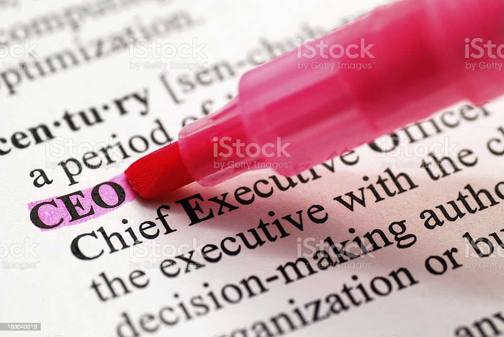 CEO highlighted in dictionary royalty-free stock photo