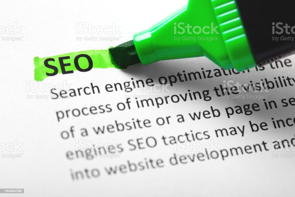 SEO highlighted in green royalty-free stock photo