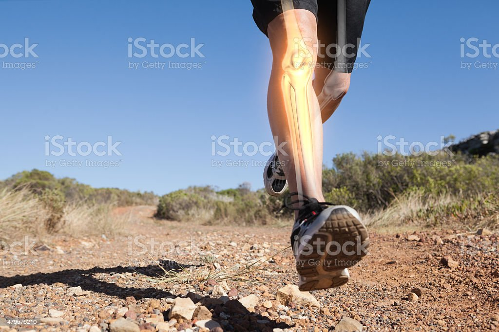 Highlighted leg bones of jogging man stock photo