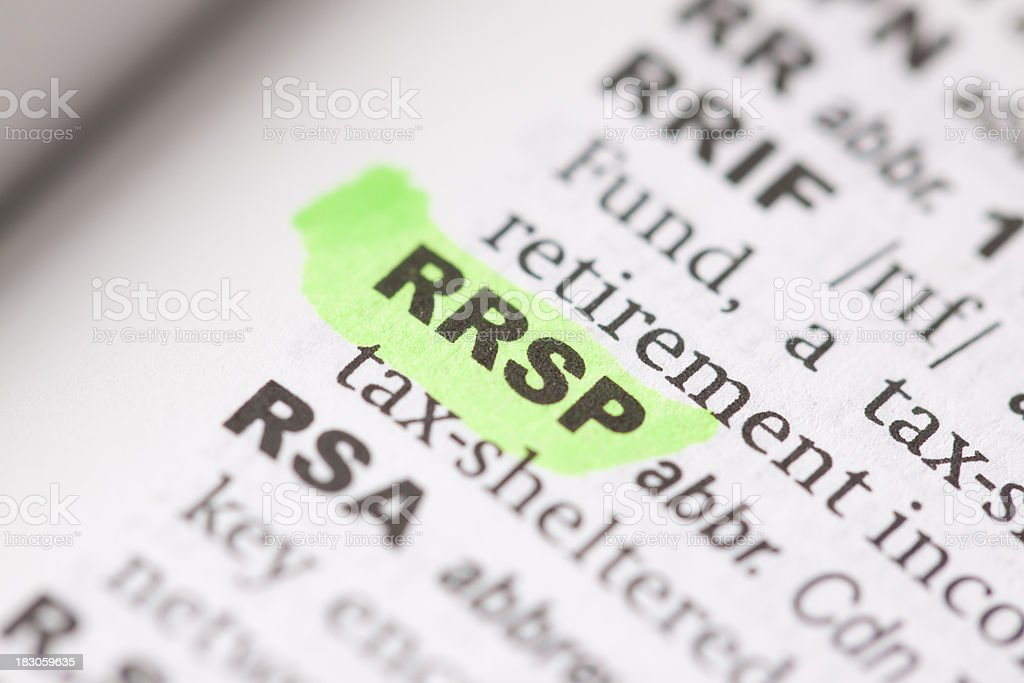 Highlighted RRSP in dictionary stock photo