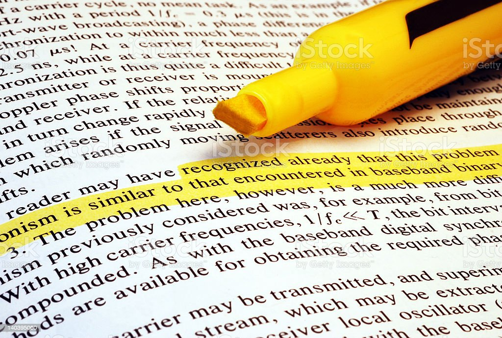 Highlighted Text stock photo