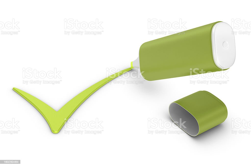 Highlighter and  Check Mark royalty-free stock photo