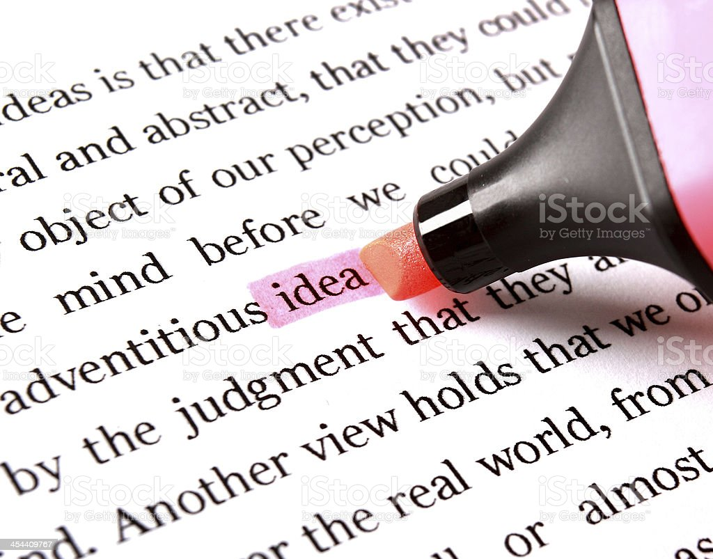 Highlighter and word idea royalty-free stock photo