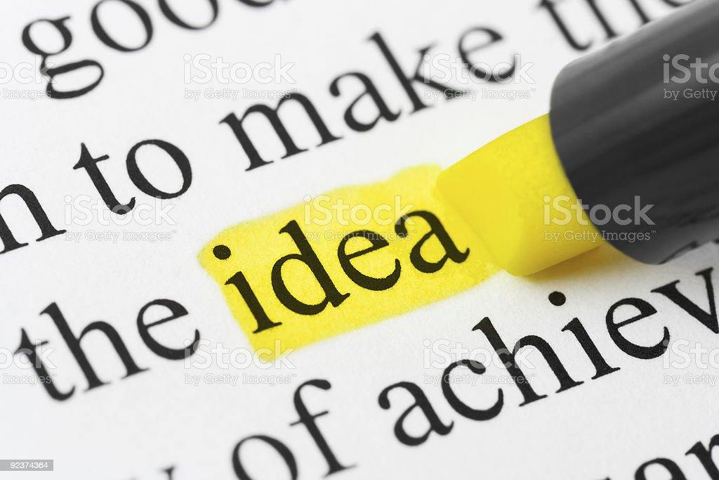 Highlighter and word idea stock photo