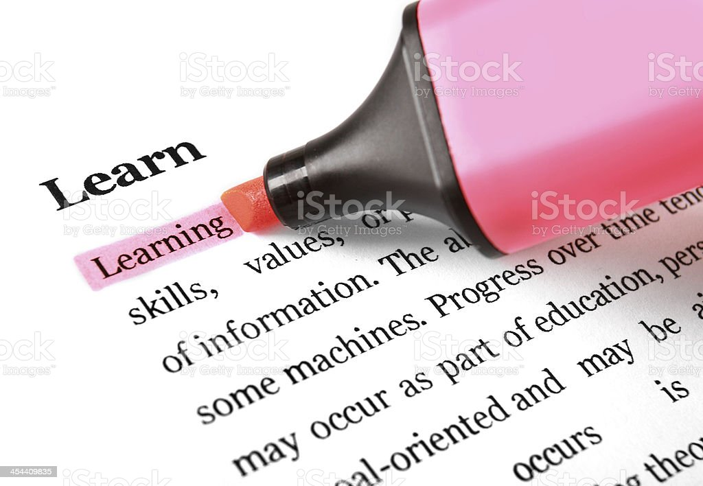 Highlighter and word Learning royalty-free stock photo