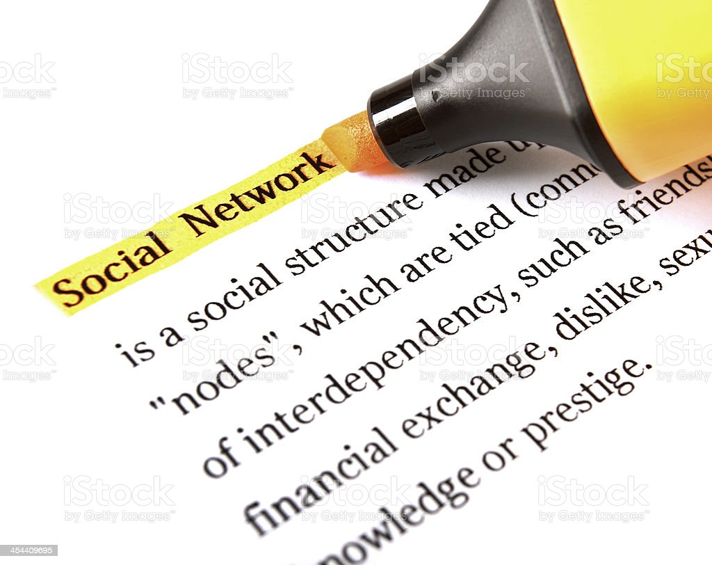 Highlighter and word social network royalty-free stock photo