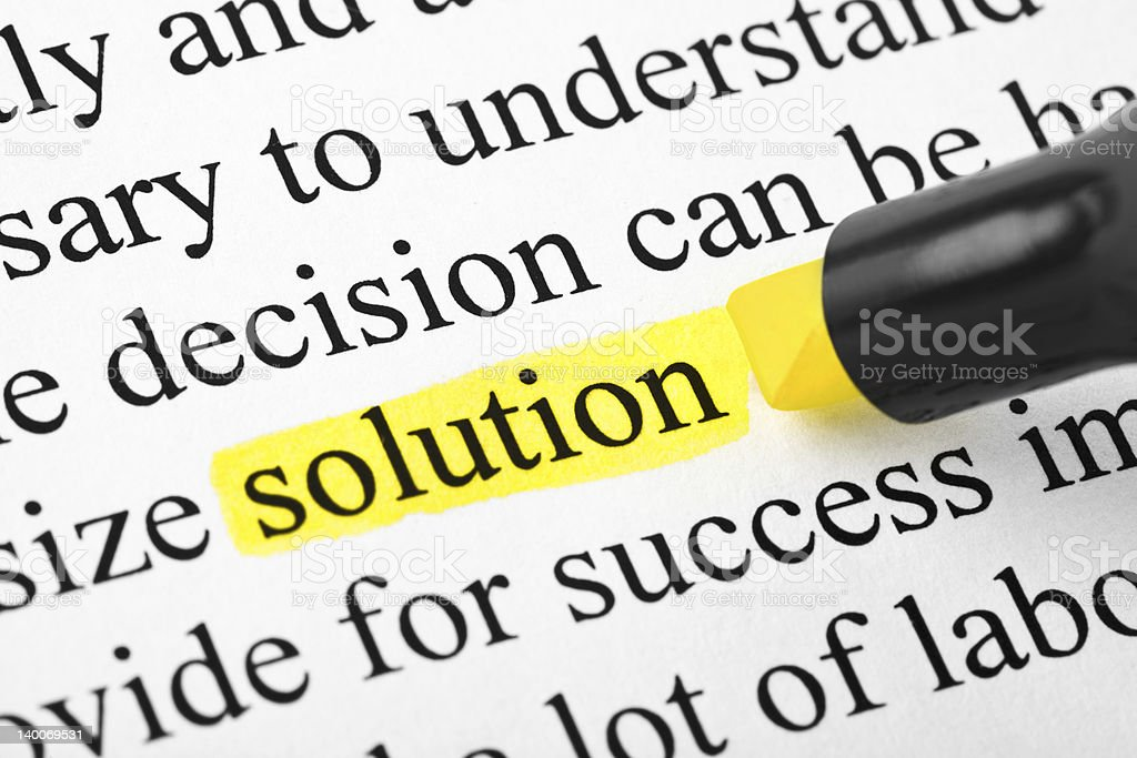 Highlighter and word solution royalty-free stock photo