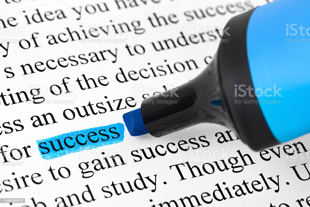 Highlighter and word success stock photo
