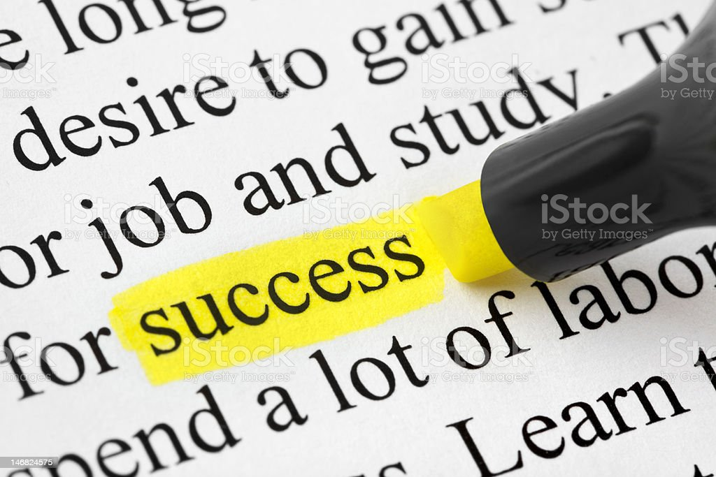 Highlighter and word success (my original text) stock photo