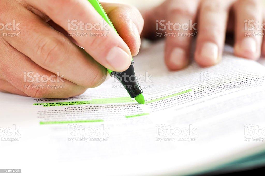 Highlighting Text stock photo