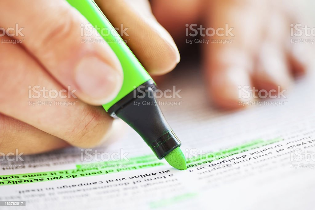 Highlighting Text royalty-free stock photo